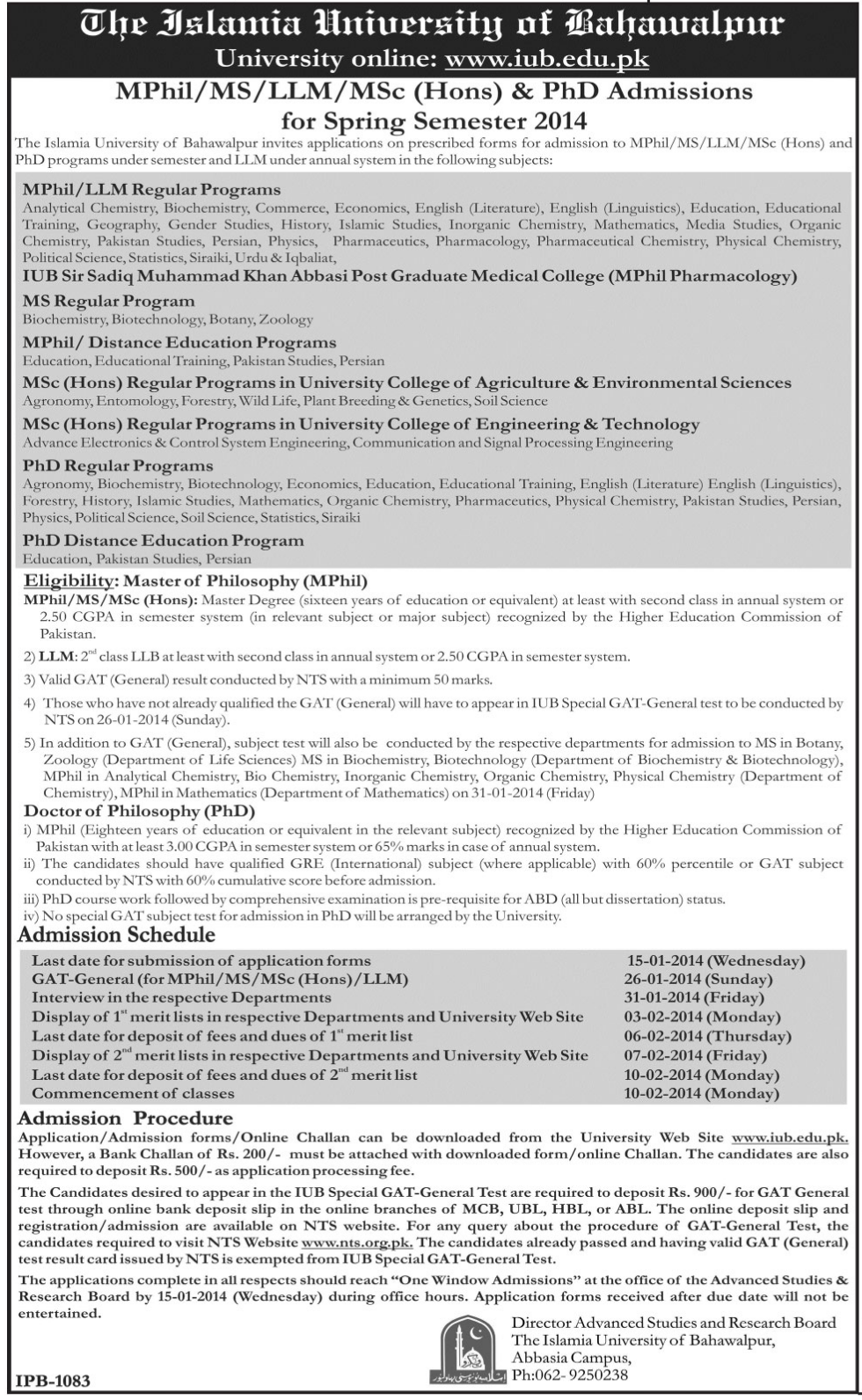 The Islamia University of Bahawalpur IUB MPhil, MS, PhD Admissions 2014