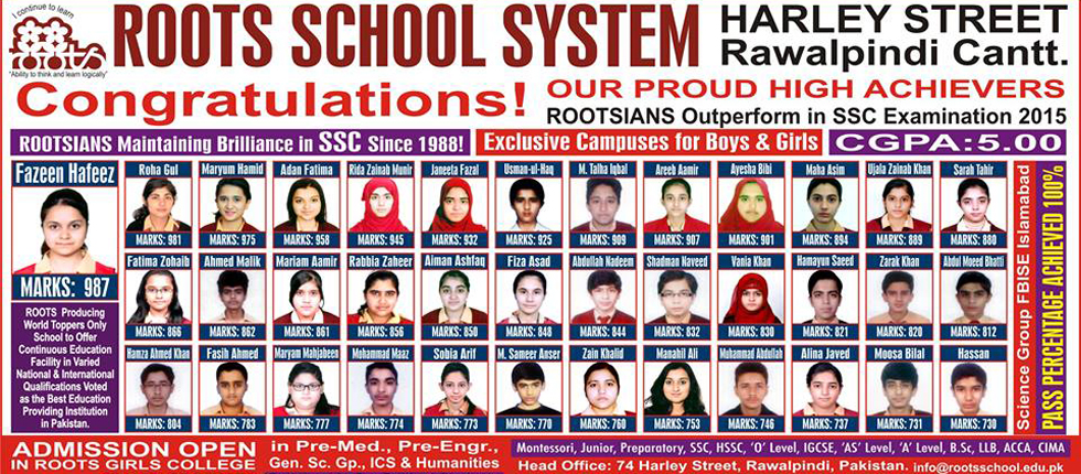 Roots School System Rawalpindi Admission 2016 Fee, Branches List