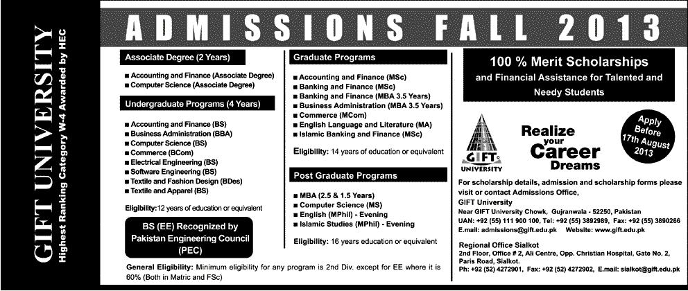 GIFT University Admission 2013