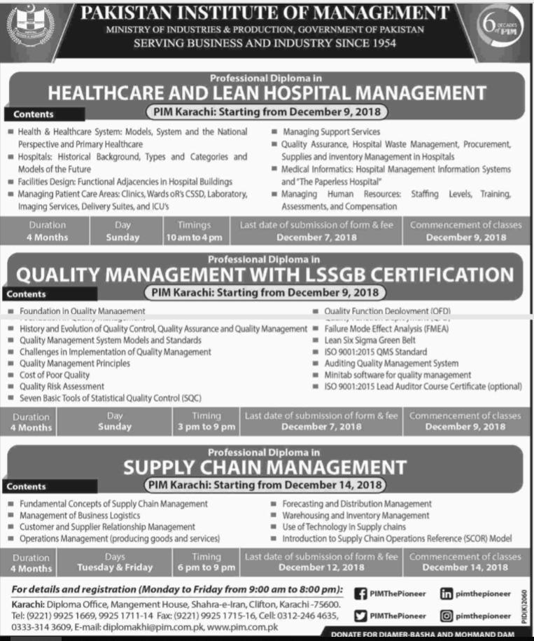 PIM Karachi Admission 2018
