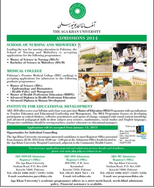 Aga Khan University AKU Karachi Admissions 2014