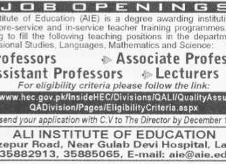 Ali Institute of Education Lahore Jobs