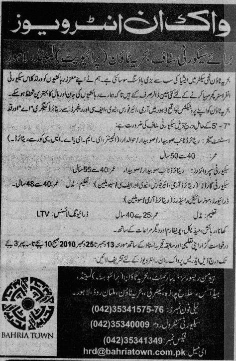Bahria Town Lahore Jobs