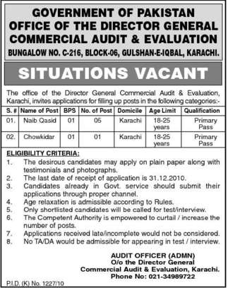 Commercial Audit & Evaluation Department Karachi Jobs