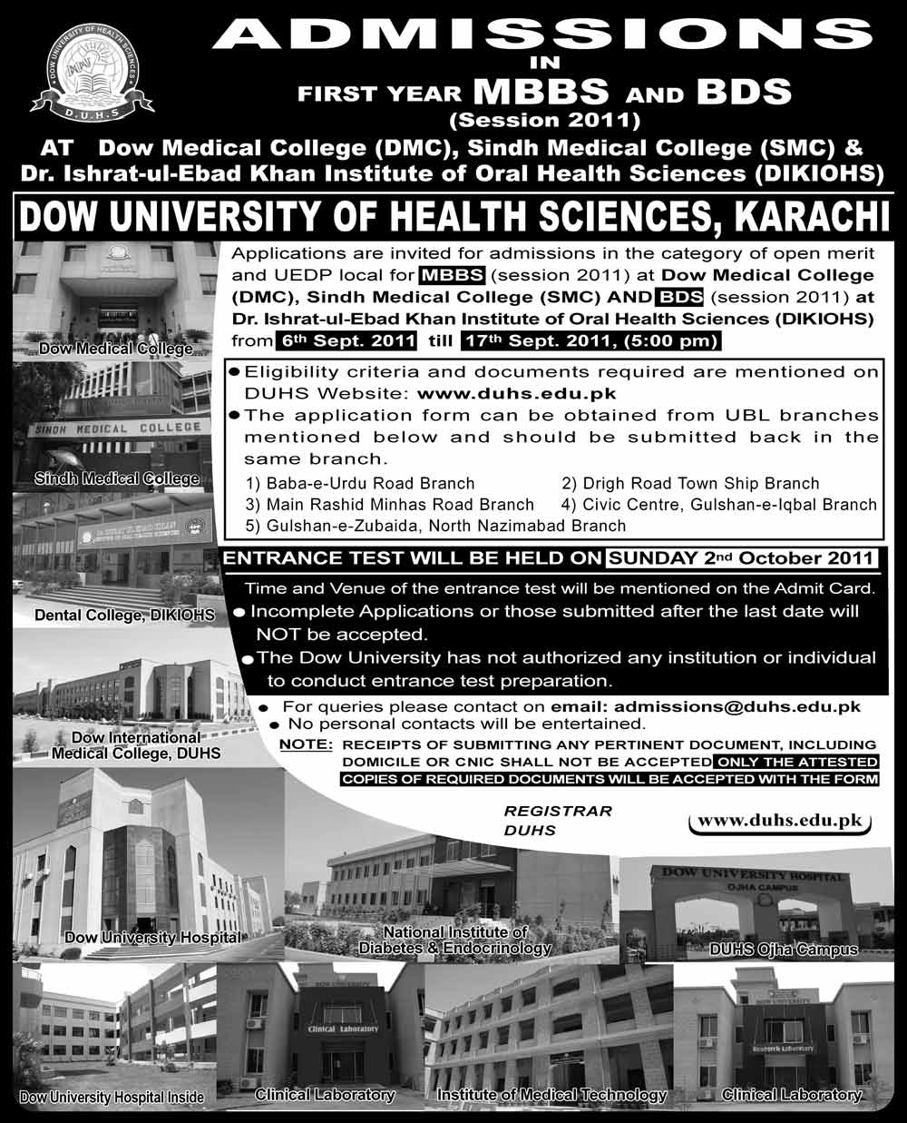 Dow University Of Health Sciences Admissions 2011