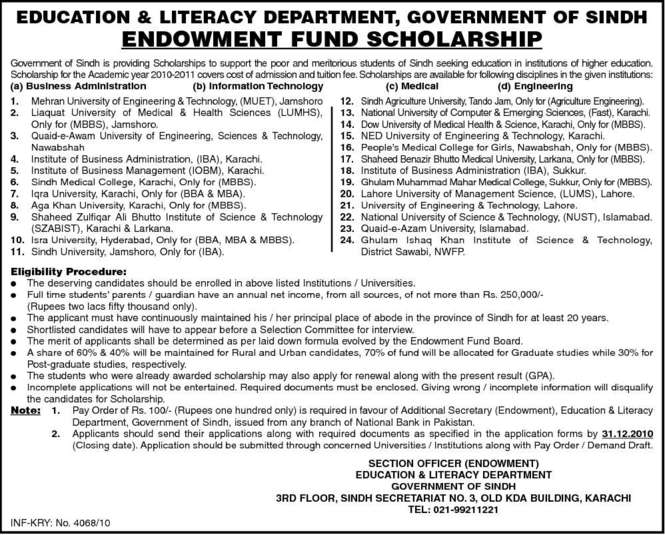 Education Department Sindh Offering Scholarships