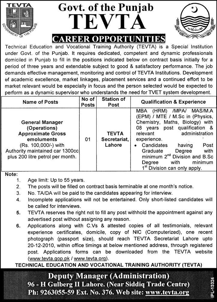 General Manager Operations Lahore Jobs