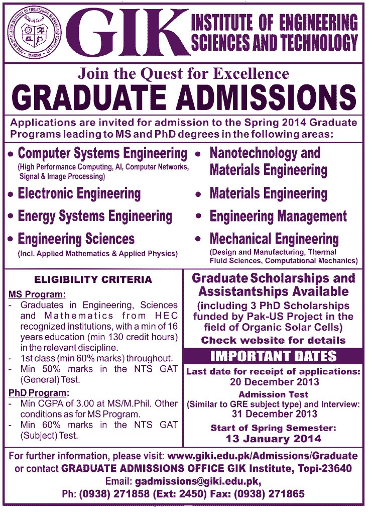 Ghulam Ishaq Khan Institute of Technology GIKI Admissions 2014