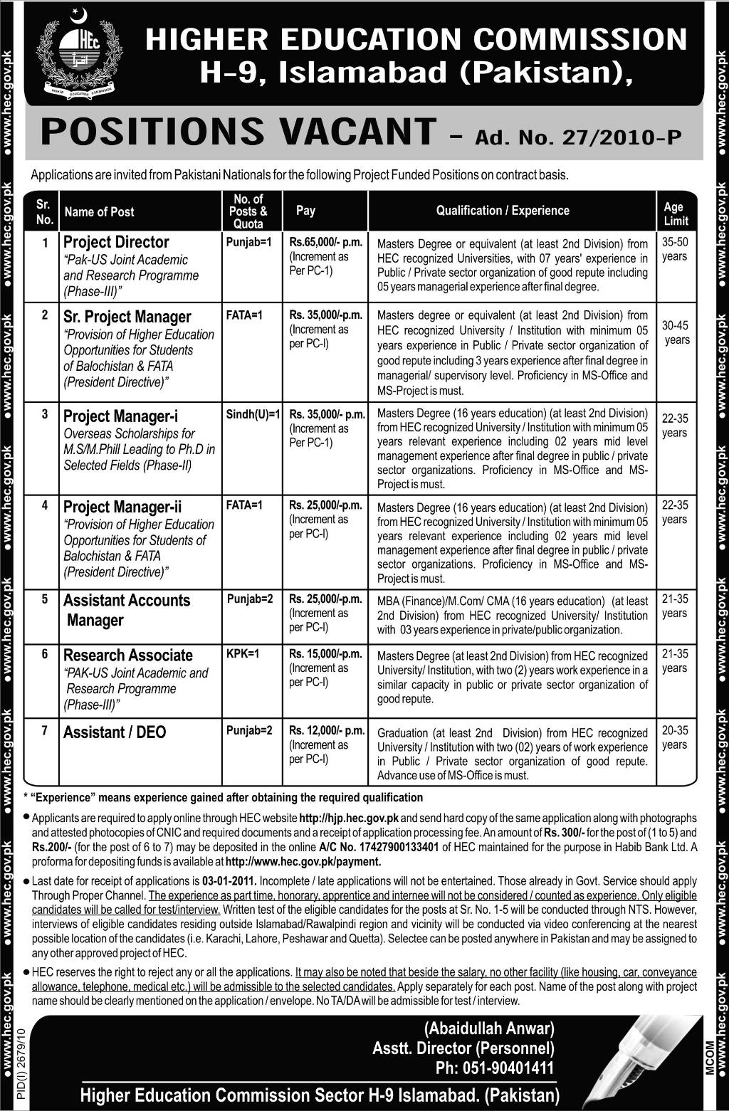 Higher Education Commission of Pakistan Vacancies