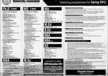 International Islamic University Islamabad Admissions 2012