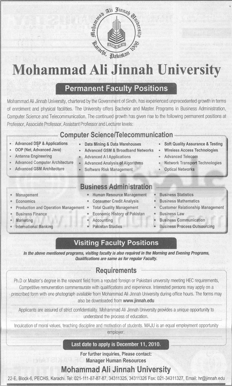 Computer Science Telecommunication and Business Administration Karachi Jobs