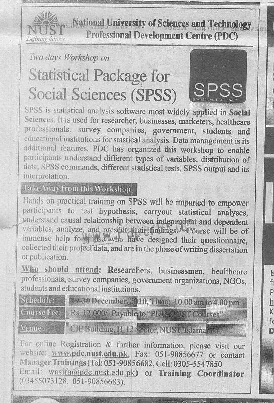 Two days Workshop on SPSS