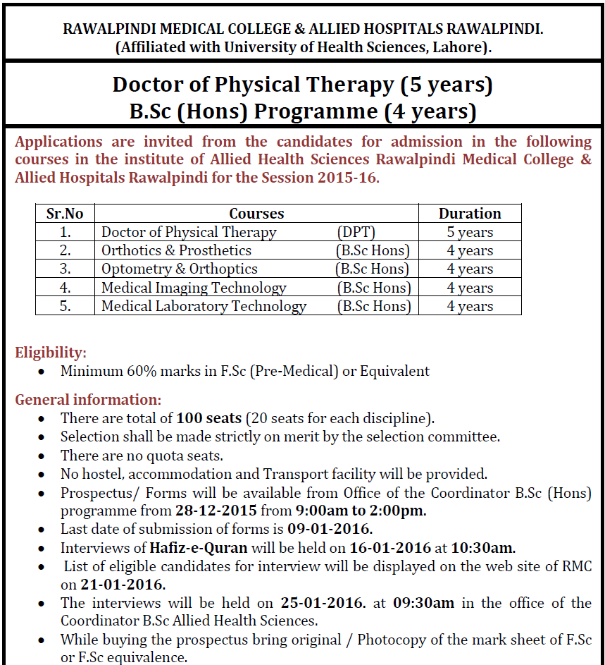 College courses for physical therapy - Rawalpindi Medical College Bsc Admission 2016 Form Requirement Dpt Mit Mlt