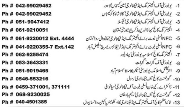 ECAT Test Centers in Pakistan Address Contact Number Details