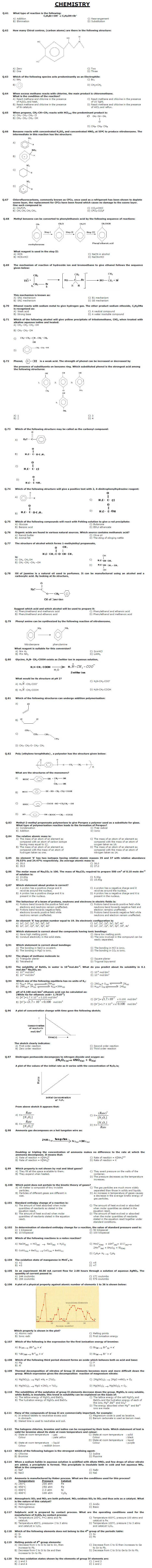 MCAT entry test sample paper Chemistry for Non F.Sc students