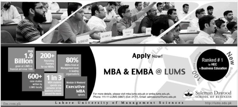 LUMS Executive MBA Admissions Open