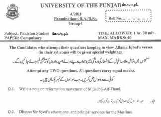 B.A Pak Study Paper Punjab University 2010