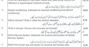 B.A Psychology Paper A Punjab University 2010