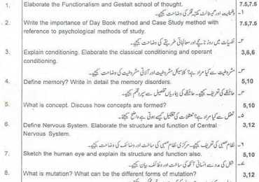 Punjab University BA Psychology Paper A, B Past Papers 2013