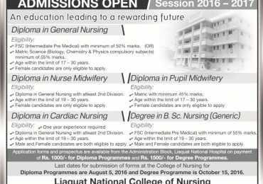 Liaquat National Hospital And Medical College Nursing Admission 2017 Form, Last Date