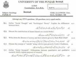 Sociology B.A Paper B Punjab University 2010