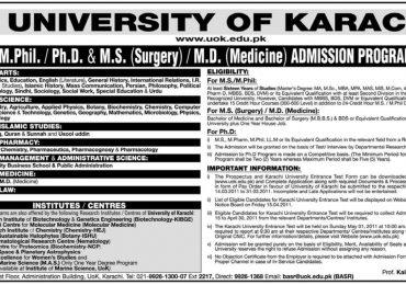 University of Karachi Admission in M.D,M.Phil,MS Surgery,Ph.D 2011