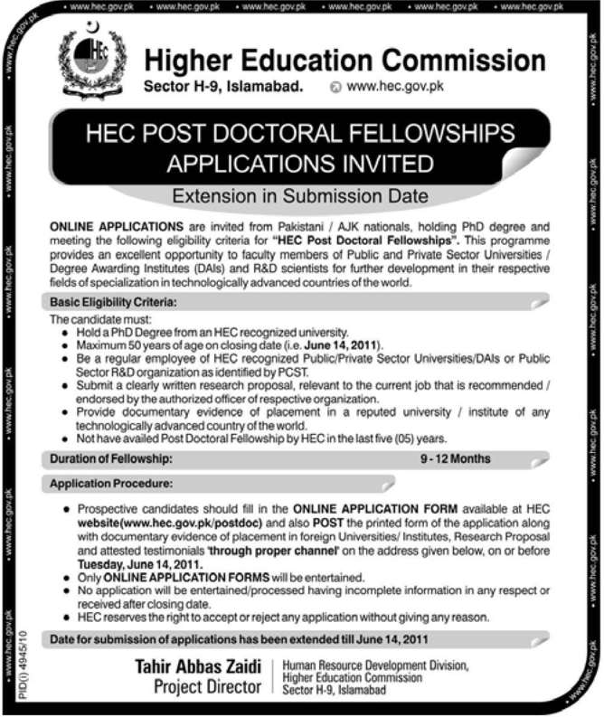 HEC Post Doctoral Fellowships 2011