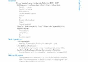 Latest CV Design Sample In Ms Word Format 2017 Pakistan