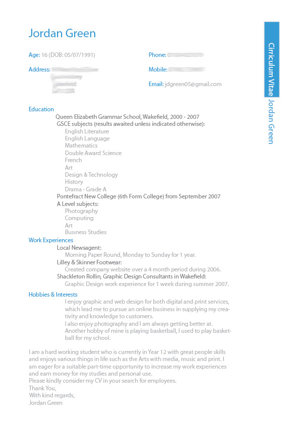 Latest Cv Design Sample In Ms Word Format  Pakistan Download