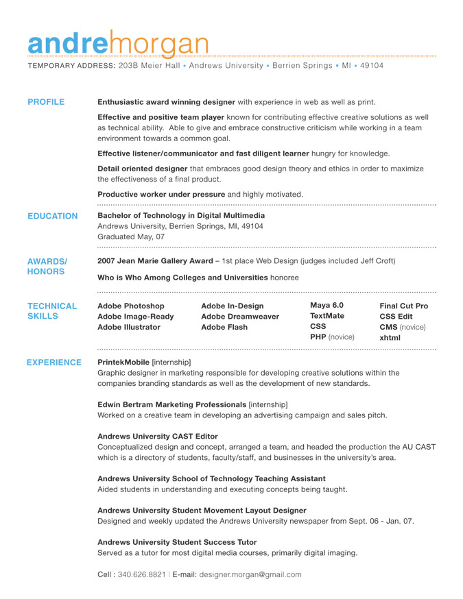 layout of a resumes