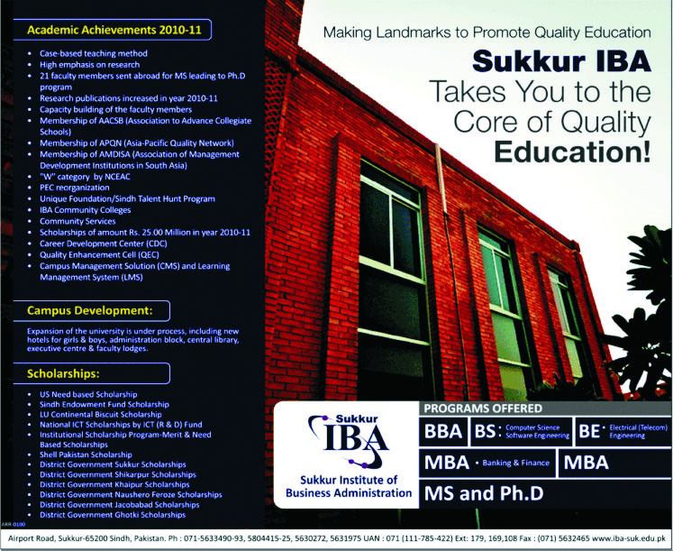 Institute Of Business Administration Sukkur Admission 2011