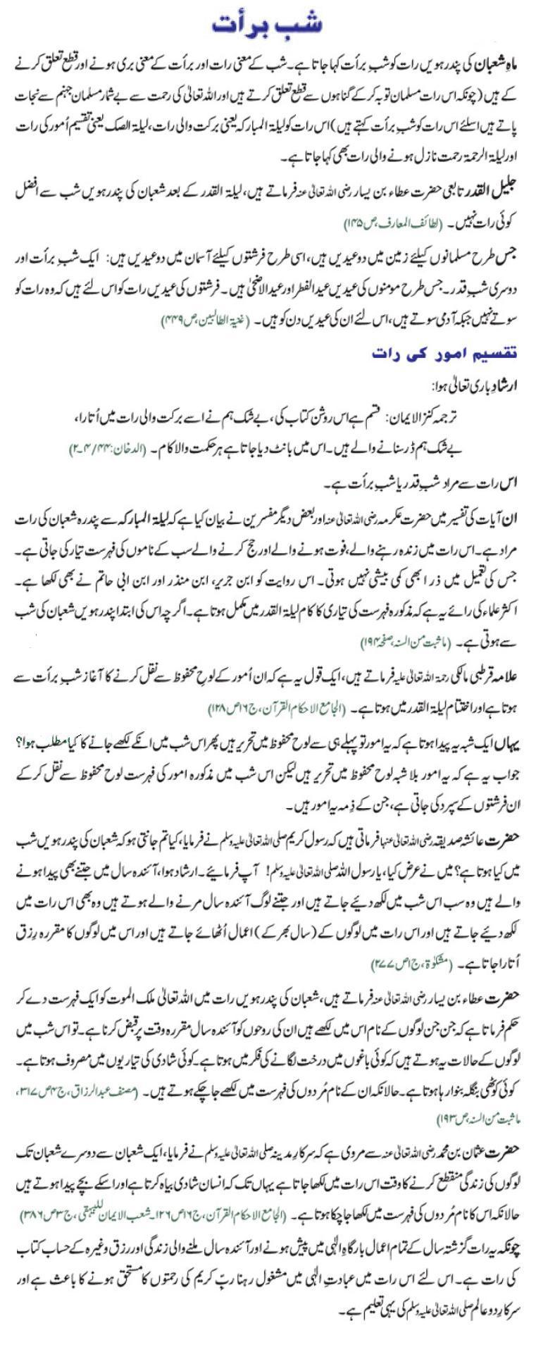 Shab E Barat Hadees Ki Roshni Main In Urdu