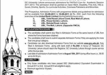 Govt College University (GCU) Lahore Admissions 2011