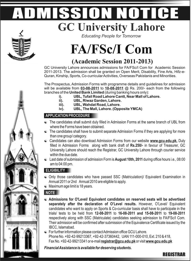 govt college university  gcu  lahore admissions 2011 fsc