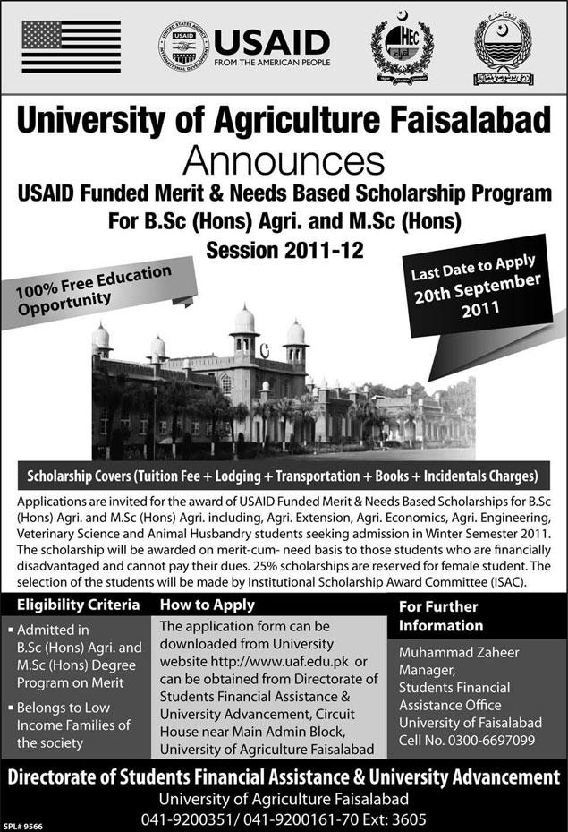 agriculture university faisalabad usaid scholarship 2011