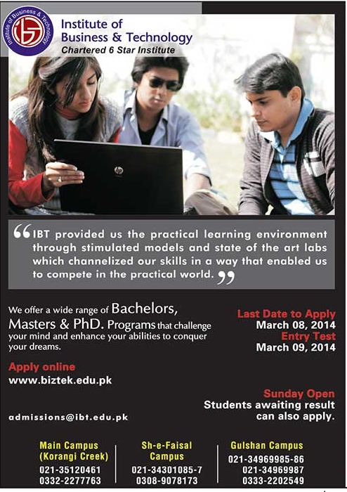 Biztek Institute Of Business And Technology Admission 2014