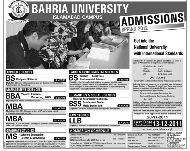 Bahria University Islamabad Admission 2011