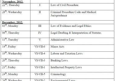 Punjab University LLB Supplementary Exams Date Sheet 2015