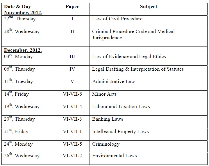 DATE SHEET FOR THE LL.B. PART-III, SUPPLEMENTARY EXAMINATION, 2012