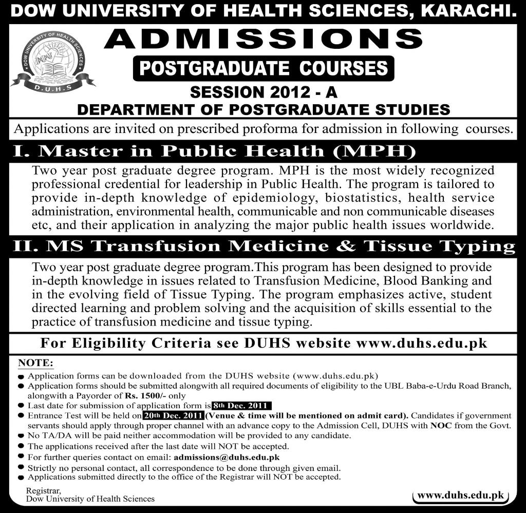Dow University Of Health Sciences Postgraduates Admission 2012