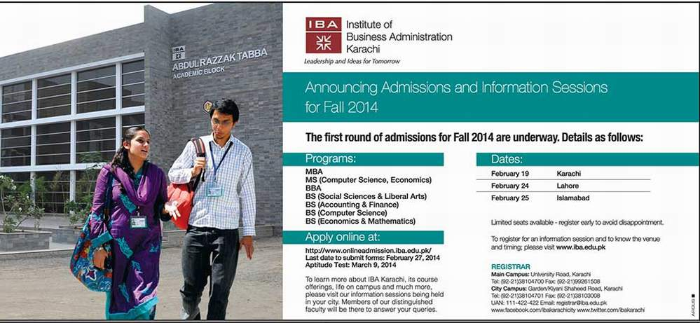 Institute Of Business Administration IBA Karachi Admission 2014