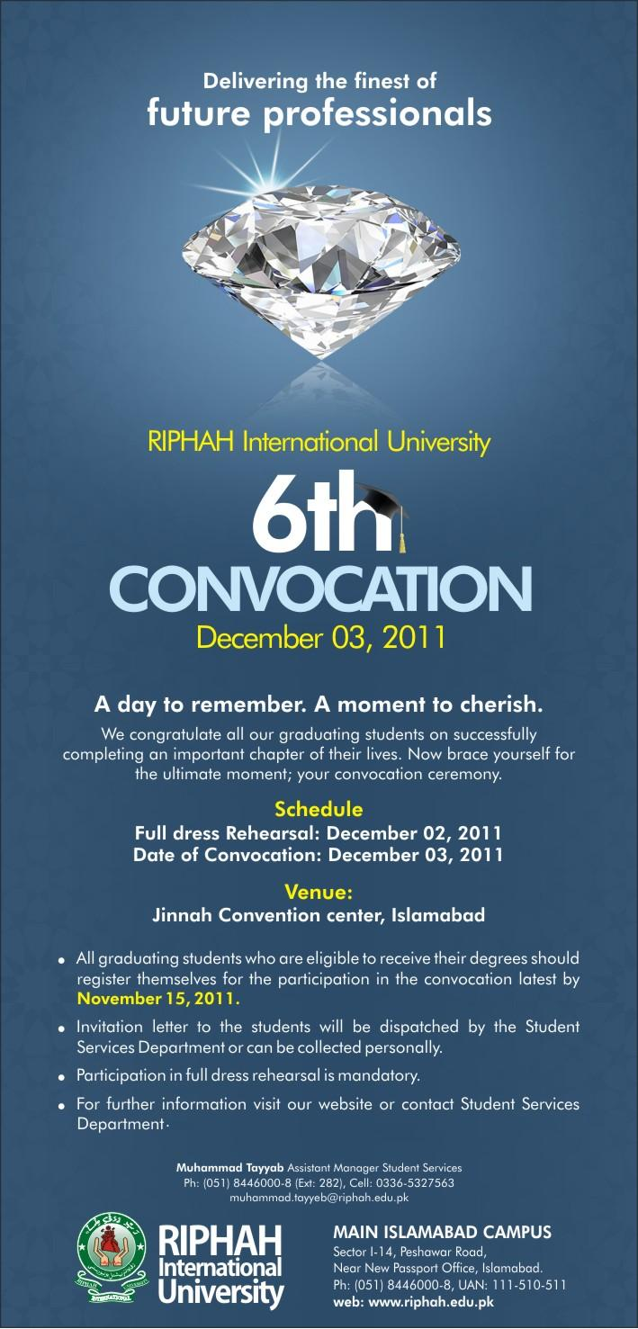 Riphah University 6th Convocation 2011