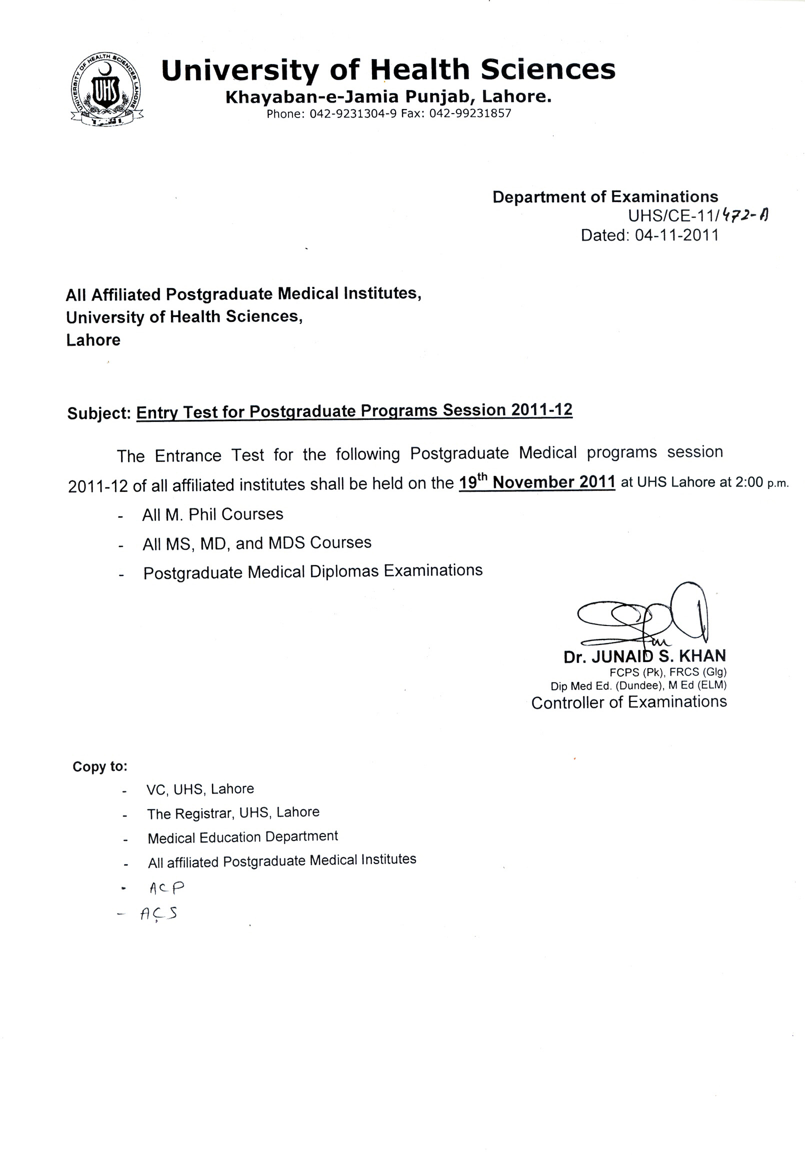 UHS Postgraduate Entrance Test 2011