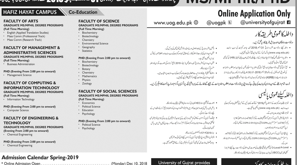 University Of Gujrat Spring Admission 2019