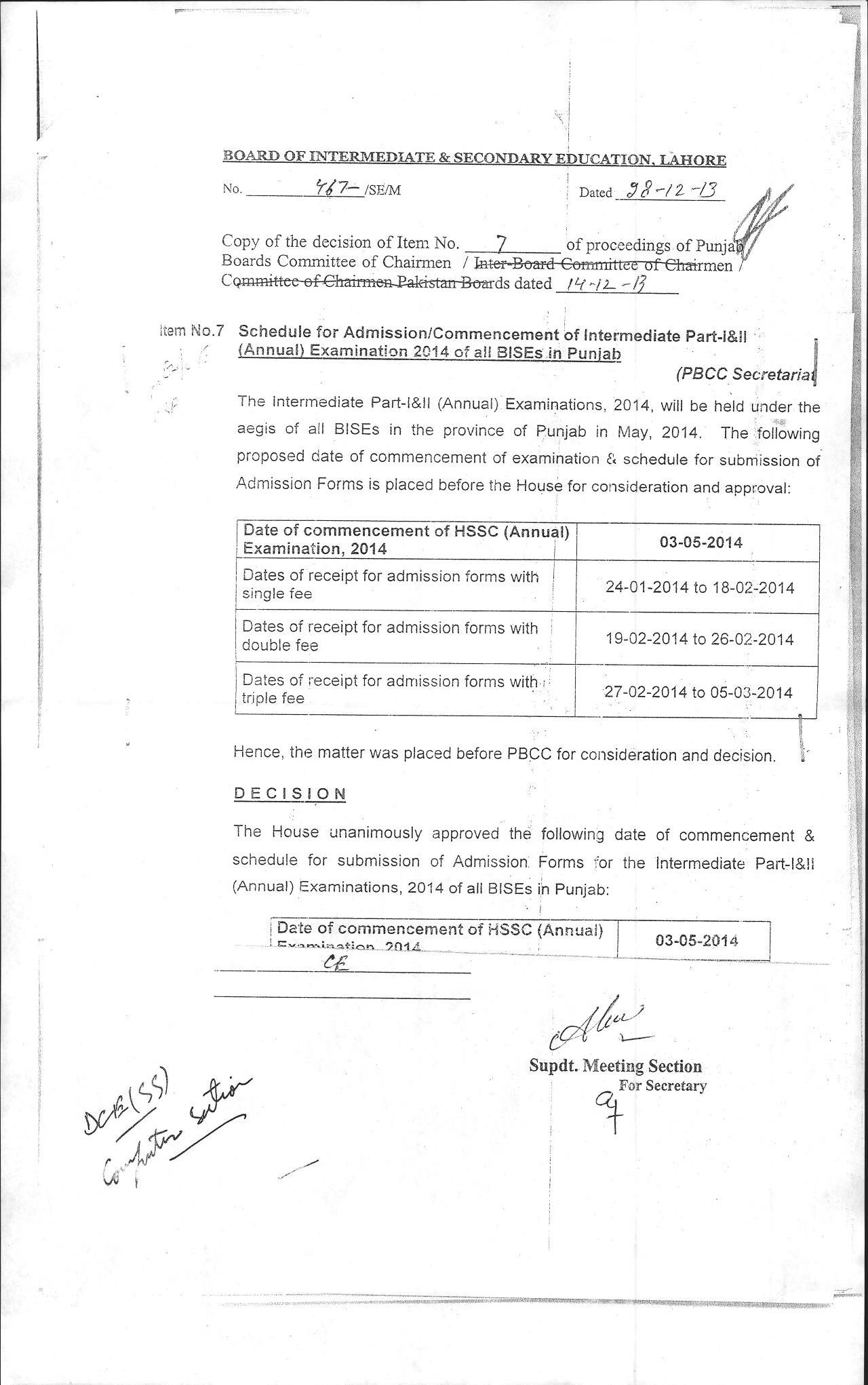 BISE Lahore Inter Part 1 and 2 Annual Exam Schedule 2014