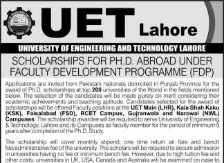 UET Lahore Scholarships For PH.D Abroad Under Faculty Development Program 2017