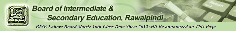BISE Rawalpindi Board Matric 10th Class Date Sheet 2017