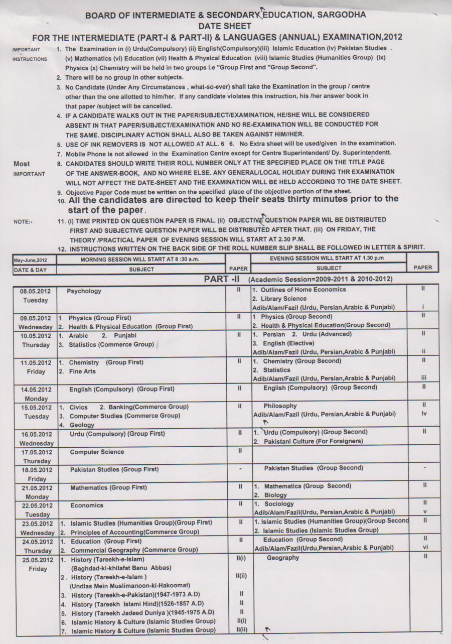 BISE Sargodha Board Inter Part 1,2 Date Sheet 2012