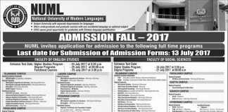 NUML University Admission Fall 2017 Form Last Date