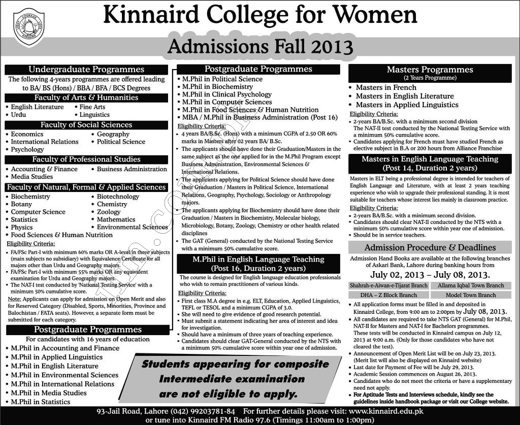 Kinnaird College for Women Admissions Fall 2013